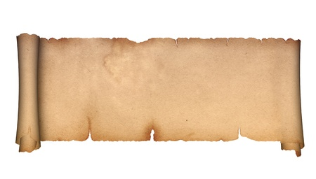 Scroll of antique parchment on a white background  photo