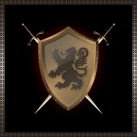 coverbook: Rivettato scudo d'oro con l'immagine del leone araldico e spade