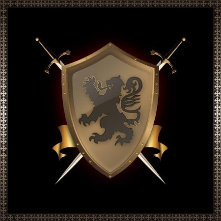 Golden shield and swords