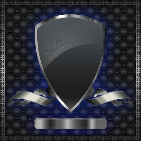 Silver shield with silver ribbon  photo