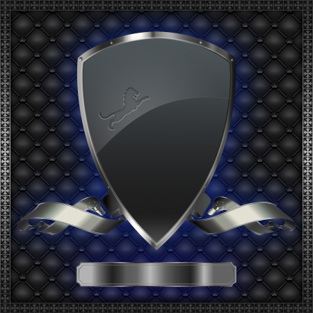 Silver shield with silver ribbon  photo