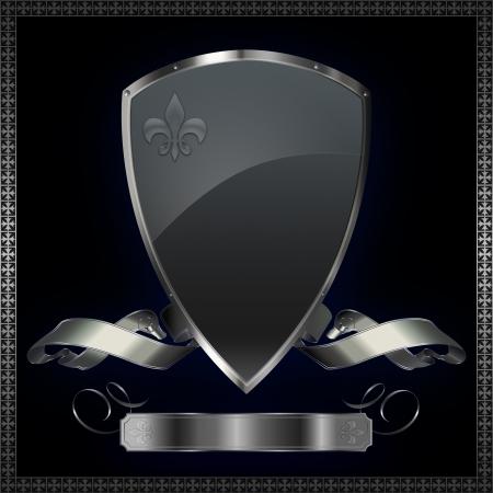 Silver shield with silver ribbon  Standard-Bild