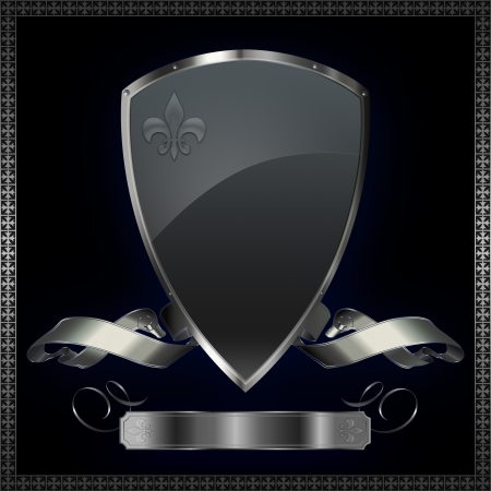 iron cross: Silver shield with silver ribbon  Stock Photo