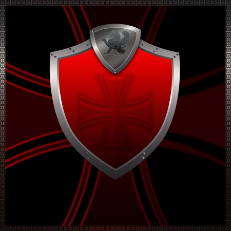 Decorative red shield on a dark background with cross  photo