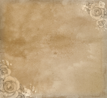 Grunge paper background with roses  Stock Photo