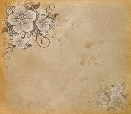 illustrated: Grunge paper with flowers
