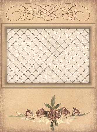 Grunge paper with wintage frame and rose  photo
