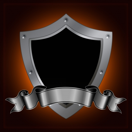 Silver shield and ribbon. Stock Photo - 14168728