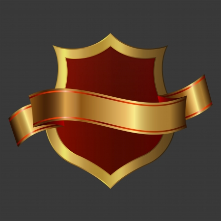 Golden shield and golden ribbon Stock Photo - 14168766