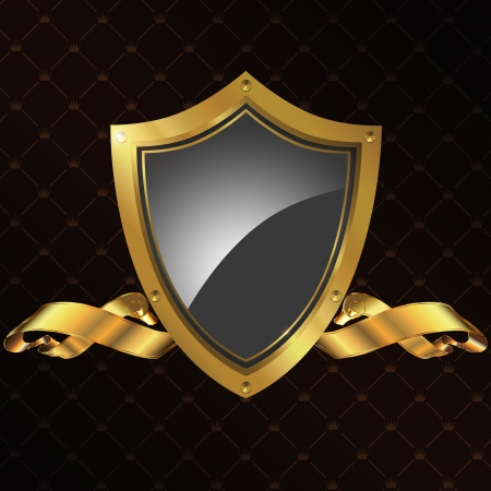 artistic logo: Golden shield and ribbon