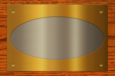 Combining the metal plate on wooden background  photo