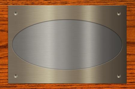 Het combineren van de metalen plaat op houten achtergrond
