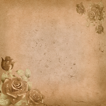 Old grunge paper background with floral corners  photo