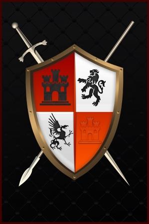 bollwerk: Schild mit Schwert und Speer
