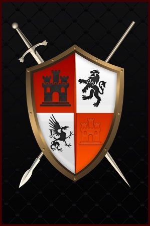 Shield with sword and spear