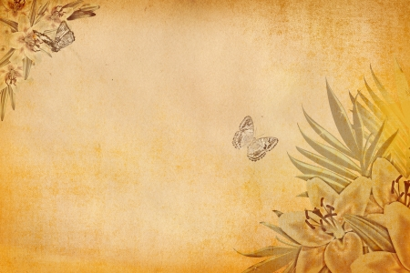Grunge paper background with flowers  photo