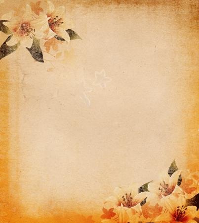 Grunge paper background with floral decoration   Stok Fotoğraf