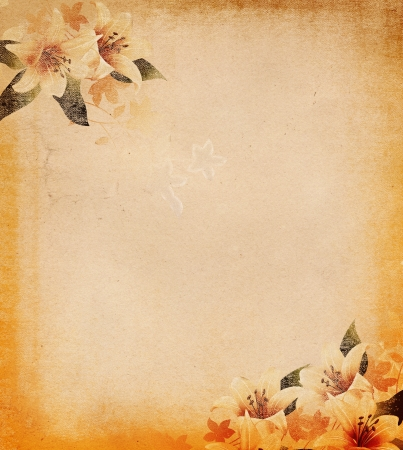 Grunge paper background with floral decoration   Stock Photo
