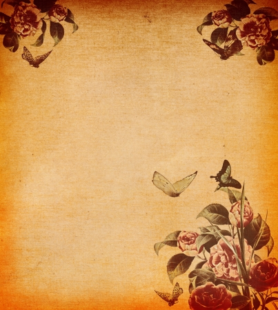 butterflies for decorations: Grunge paper background with floral decoration   Stock Photo