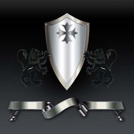 iron cross emblem: Ornate background with shield and ribbon