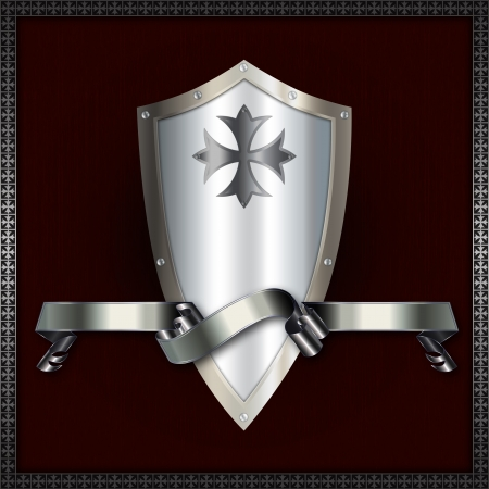 An iron shield with a silver ribbon Stock Photo - 14168817