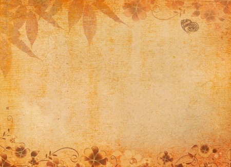 butterflies for decorations: Grunge paper with floral patterns  Stock Photo