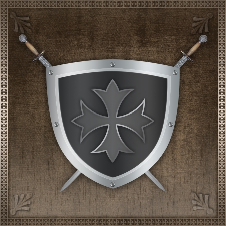 shield and sword: Decorative silver shield with maltese cross and swords