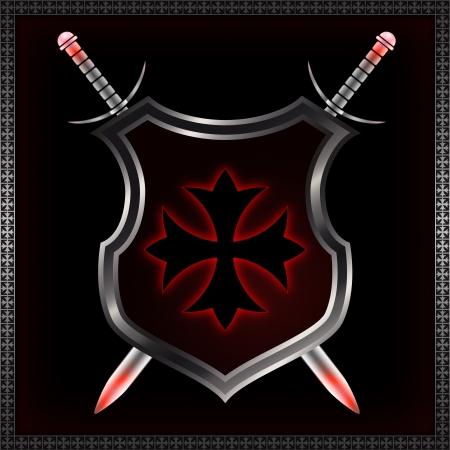 Resumen escudo con la cruz de malta y las espadas Foto de archivo - 14264608