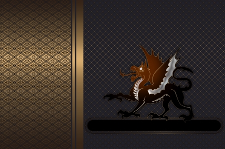 Decorative background with a dragon for the cover design and text  photo
