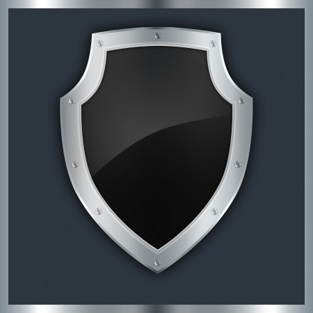 Background with silver riveted shield  photo