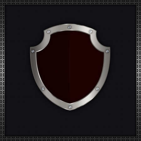 riveted: Background with silver riveted shield  Stock Photo