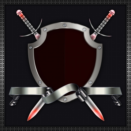 Silver riveted shield with ribbon and swords Stock Photo - 14264616