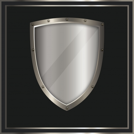 Silver shield on a dark background