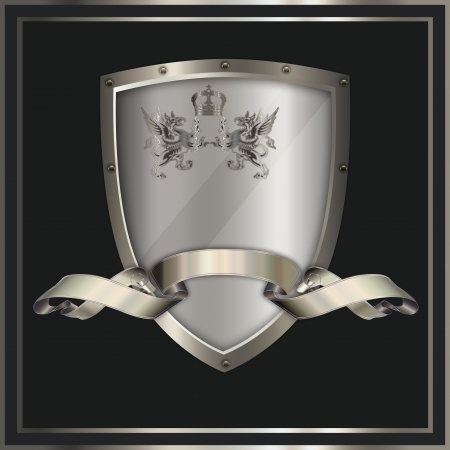 Heraldic shield with decorative ribbon  photo