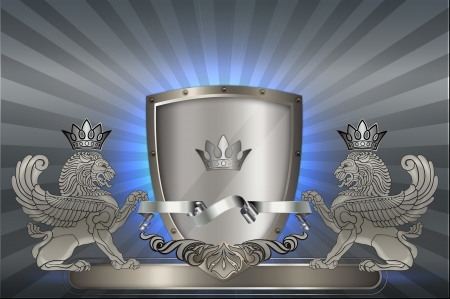 Ornate heraldic background  Stock Photo