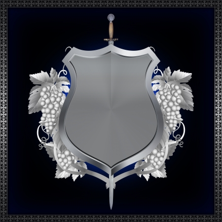 Ornate background with shield and sword.