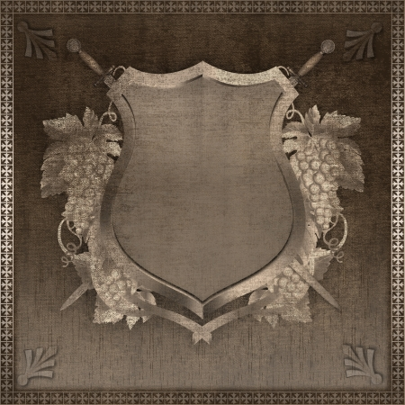 Decorative vintage background with image of heraldic shield and ornate border. photo