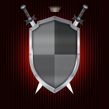 Heraldic shield and swords for the design  photo