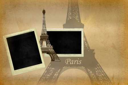 Grunge paper with image of Eiffel tower and old photoframes for the design of your photo