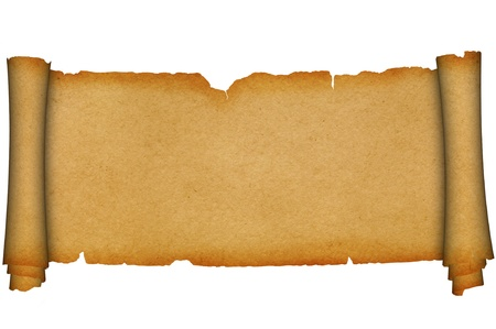 Antique scroll of parchment on a white background  photo