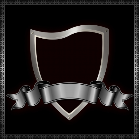 Heraldic shield with silver ribbon Stock Photo - 14463556