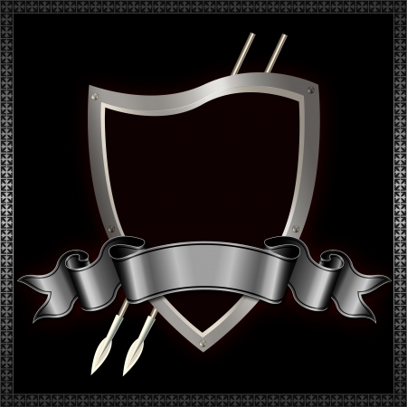 Heraldic shield with spears and ribbon Stock Photo - 14463560