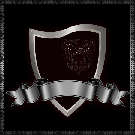 Heraldic shield with image of heraldic eagle and decorative ribbon  写真素材