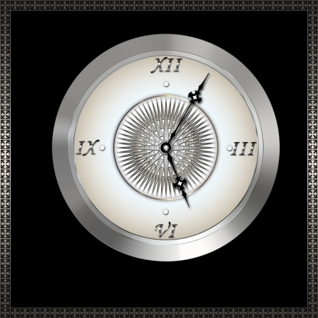 roman numerals: Old clock with roman numerals