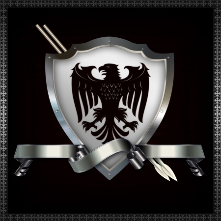 Heraldic shield with spears and ribbon Stock Photo - 14463509