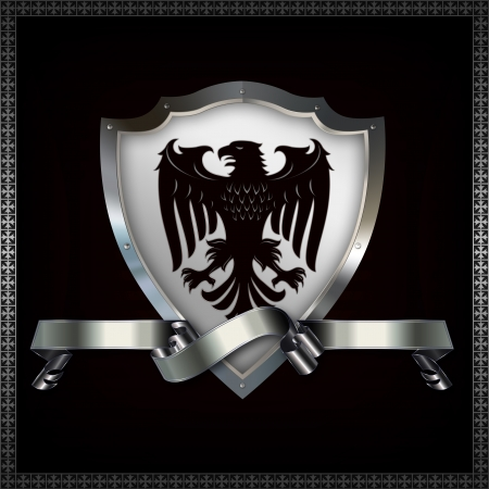 Heraldic shield with image of heraldic eagle and decorative ribbon  Stock Photo - 14463507
