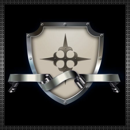 Decorative heraldic shield with ribbon  photo