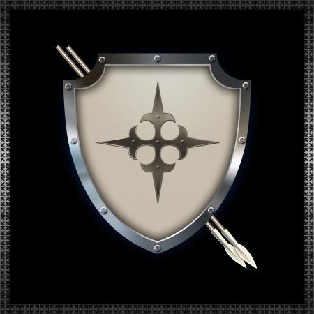 Decorative heraldic shield with spears  photo