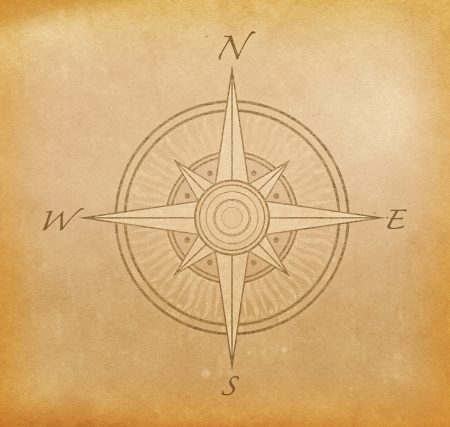 Grunge paper background with image of compass rose