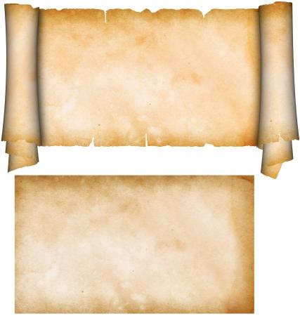 rolagem: Rolo do pergaminho e folha de papel velho do grunge